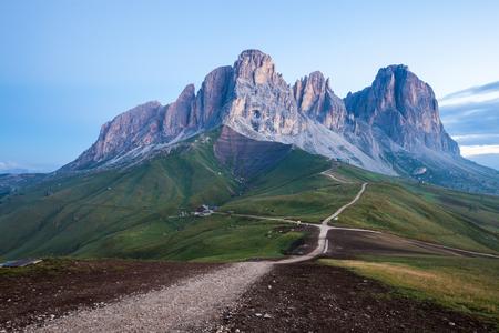 Sassolungo mountain summer view, Dolomites Alps, Italy Stock Photo