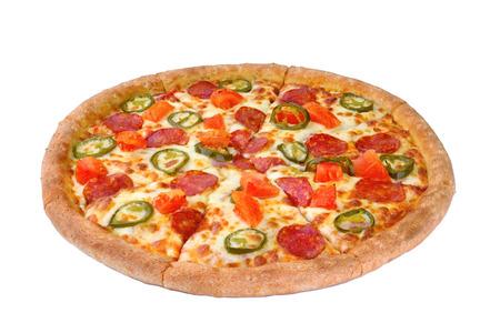 흰색 배경에 고립 된 피자 스톡 콘텐츠