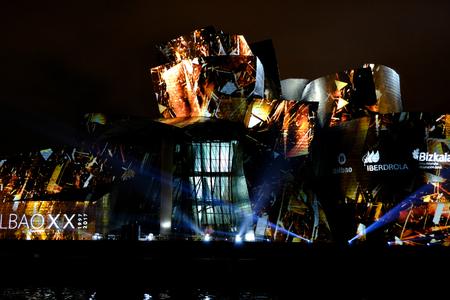 BILBAO, SPAIN - OCTOBER 11, 2017: Light show at Guggenheim Museum in Bilbao, Spain