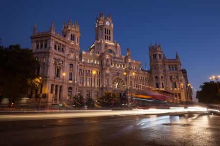 Illuminated Cibeles Palace at twilight, Madrid, Spain