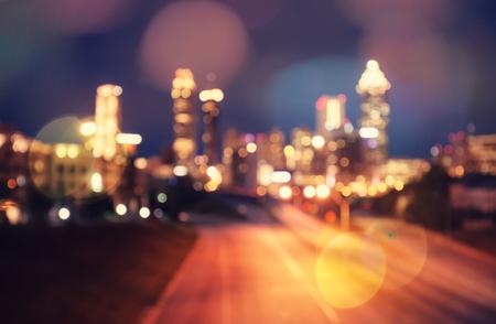 Bokeh lights of modern city skyscraper skyline
