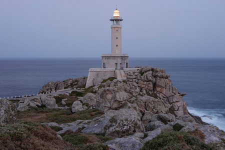 Punta Nariga Lighthouse at twilight, Spain
