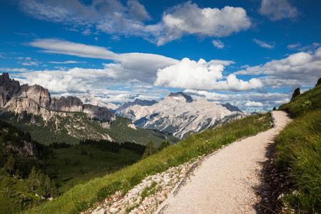 Pathway in Gardena pass in Dolomites mountains, Italy Stock Photo