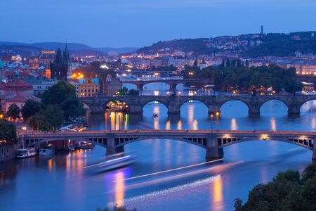 View of the Vltava River and the bridges at night, Prague, the Czech Republic