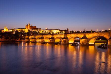 Charles Bridge in Prague at night, Czech Republic