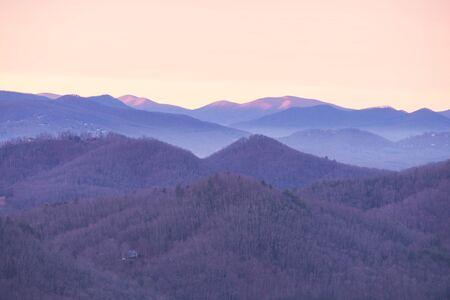 Great Smoky Mountains National Park Scenic Sunrise Landscape at Oconaluftee Overlook between Cherokee and Gatlinburg