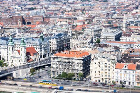 Tilt-shift view of old city skyline, Budapest, Hungary