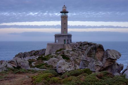 Lighthouse of Punta Nariga, Malpica, La Coruna, Spain. Stock Photo