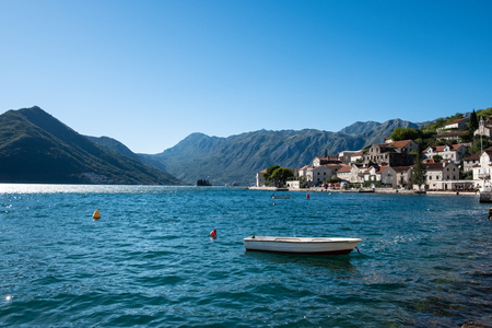 Panorama view of Perast city in Montenegro. Summer travel destination