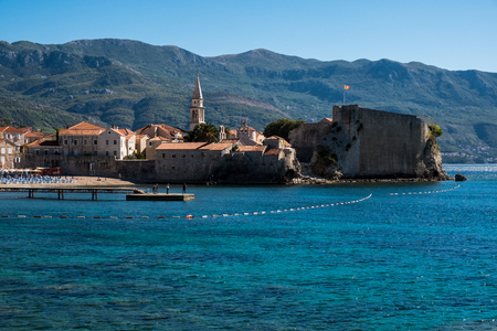 Budva. The old Town. Blue sky over houses Adriatic Sea. Montenegro. Europe. 写真素材