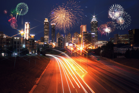 Fireworks over Atlanta city night skyline, Georgia, USA Stock Photo