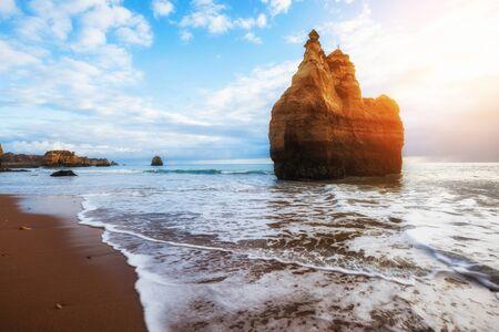 Atlantic ocean summer sunny beach. Algarve, Portugal
