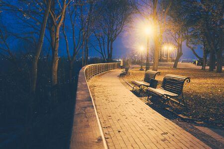 Stadspark steegje, bankje, bomen en lantaarns. Nacht stadspark landschap Stockfoto