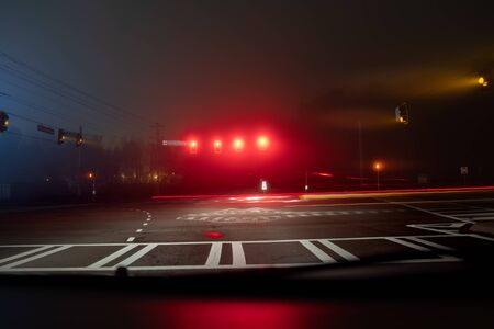 Fast night driving on highway, view from inside of a car