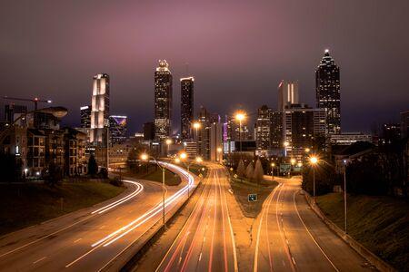 Atlanta city night panoramic view skyline, Georgia, USA