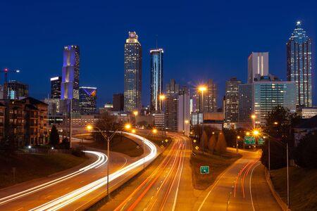 Atlanta City Night Panoramablick Skyline, Georgia, USA Standard-Bild