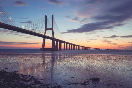 Bridge Lisbon at sunrise, Portugal - Vasco da Gamma Stock Photo