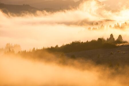 Beautiful foggy landscape in the sunrise mountains. Fantastic morning foggy autumn hills glowing by sunlight. 스톡 콘텐츠