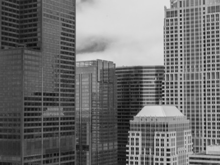 The Loop district Chicago black and white