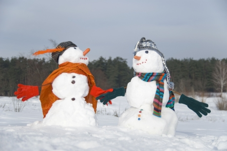 The couple of snowmen in love Stock Photo - 15167632