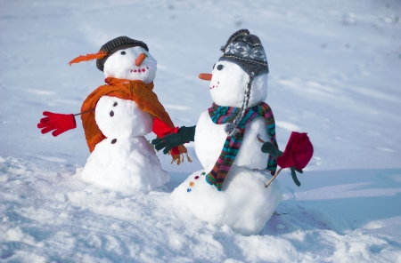 The couple of snowmen in love Stock Photo - 15167635