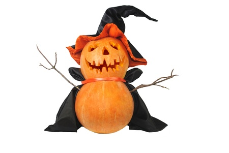 Funny Halloween pumpkin with black hat isolated on white