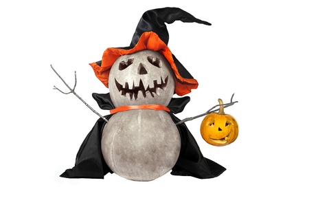 Halloween pumpkin with black hat photo