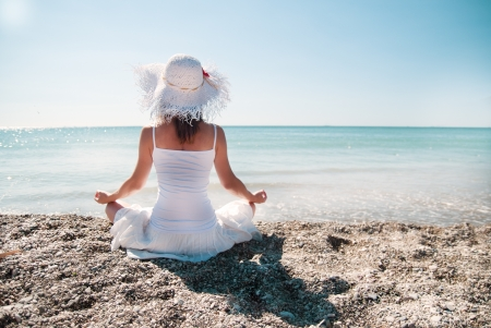 sexual chakra: Woman meditating Stock Photo