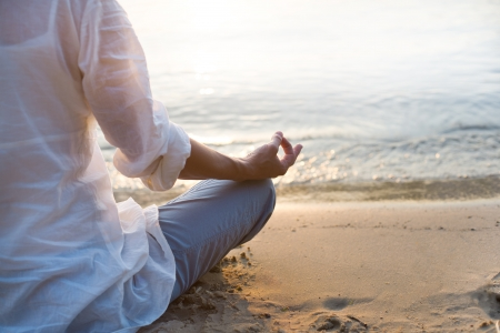 chakra: Woman meditating Stock Photo