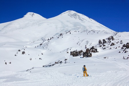 elbrus: Elbrus - a sleeping volcano and snowboarder
