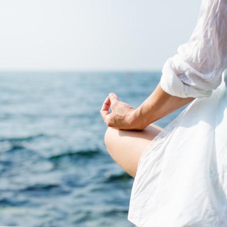 serenity and yoga practicing at sunset, meditation Archivio Fotografico