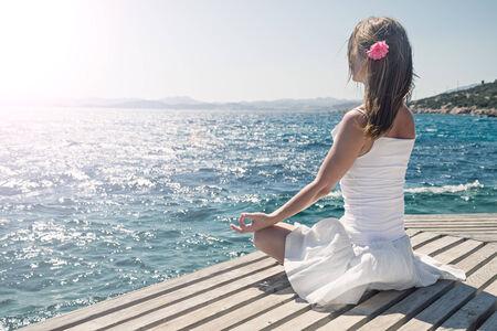 yoga beach: serenity and yoga practicing at the sea