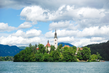 bled: Panoramic view of  Lake Bled
