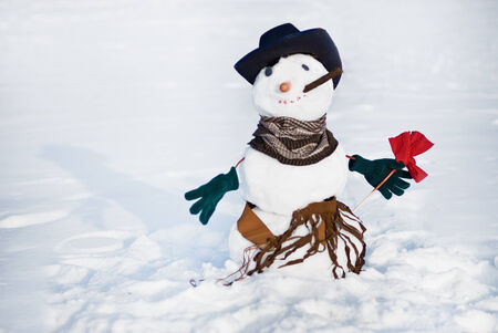 Snowmen with flower photo