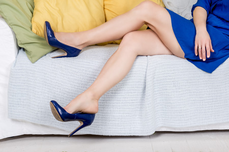 pretty female legs with high heels Stock Photo