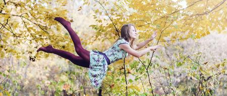 levitation: Levitation portrait of young woman