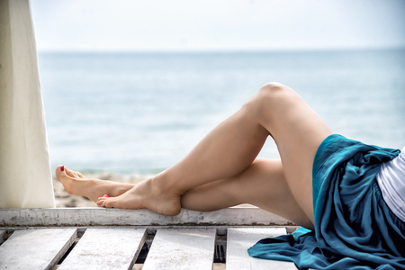 view of nice woman legs at the resort