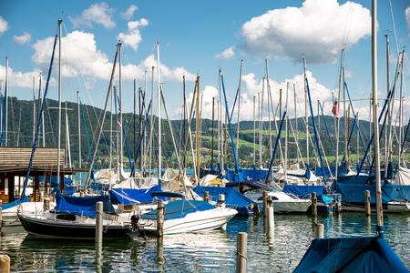 yachts at marina in the lake Stock Photo