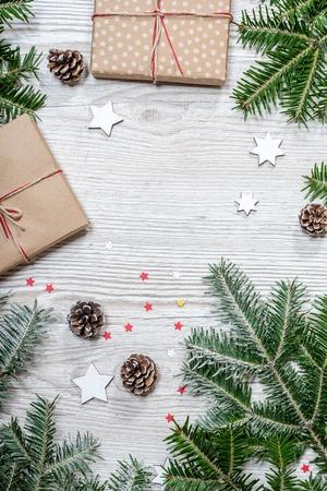 Gift box on wood background Stock Photo