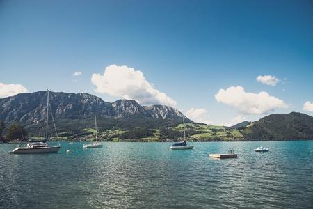 yachts at marina in the lake. Austria Foto de archivo