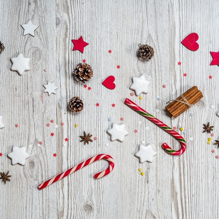 Christmas background on the wooden desk Stock Photo