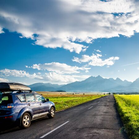 car for traveling with a mountain road