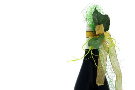 Bottle of red wine with a celebratory ribbon Stock Photo - 4268659