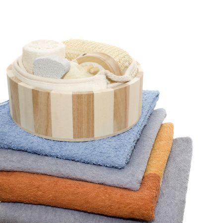 Bath set - sisalcotton back massage belt, massage brush with wooden studs, sisal massage sponge, loofah, nylon tuff - isolated on white photo
