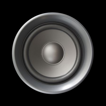 speaker box: A large silver bass speaker isolated on black.  Stock Photo