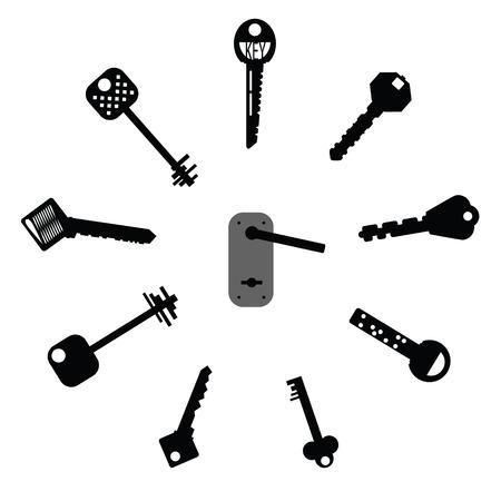 doorhandle: Set of design elements - Keys Silhouettes Illustration