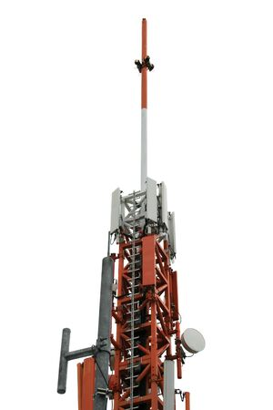 Cellular antenna. Top of a telecommunications antenna tower. Isolated on white. Stock Photo - 7789719