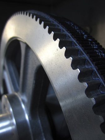 cam gear: Part of gears with a toothed belt, industry equipment Stock Photo