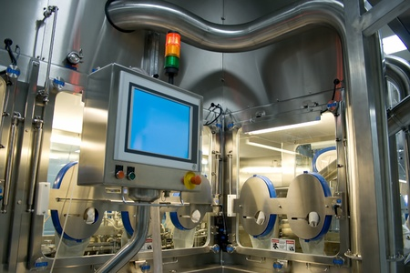 industrial machinery: Medicine production in a pharmaceutical industry. Sterile room.