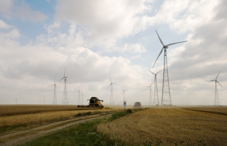 Harvesting on wheatfield with windmills Stock Photo - 17310040